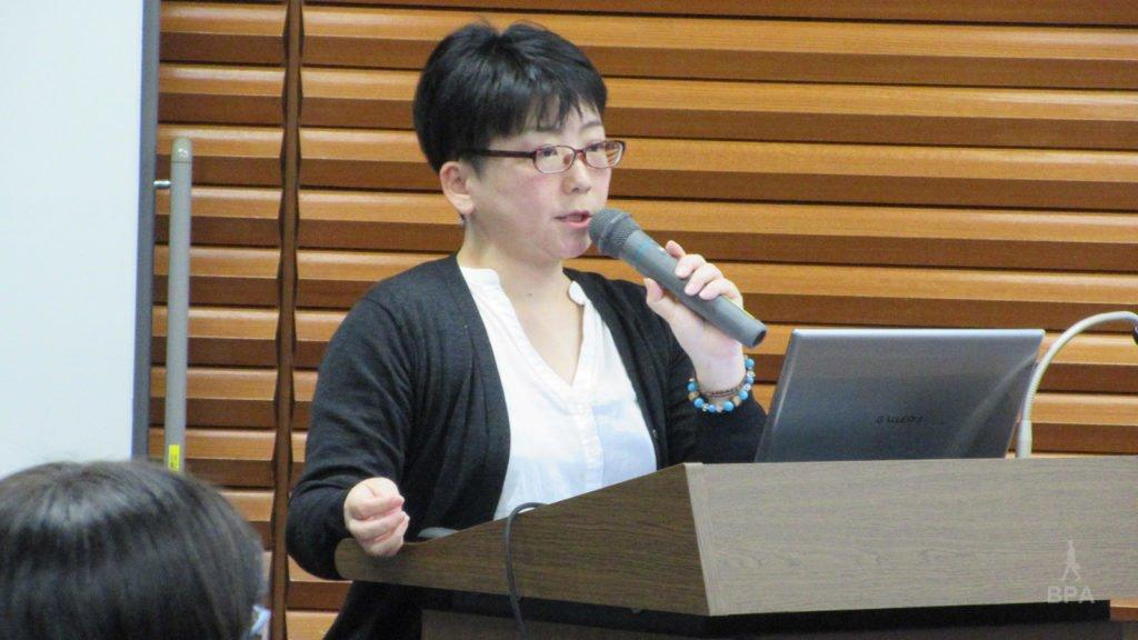 BPA LIVE で講演する 映画プロデューサー 野村展代さん